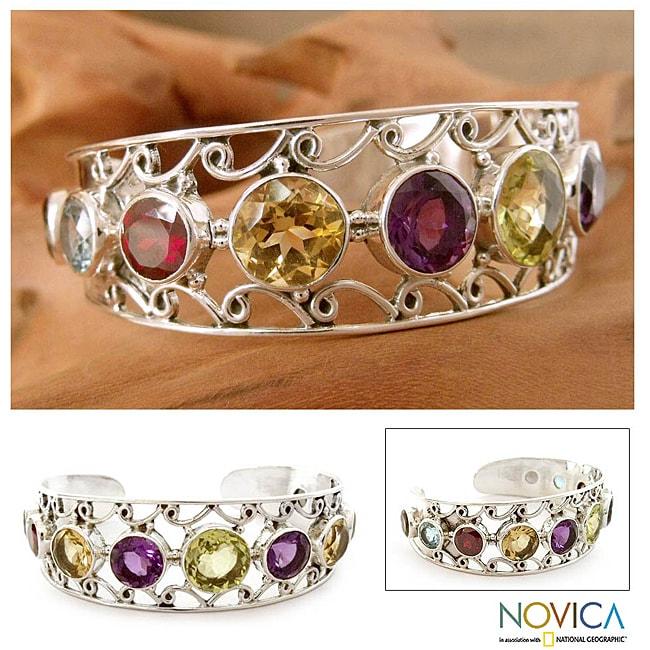 Sterling Silver 'Radiance' Multi-gemstone Cuff Bracelet (India)