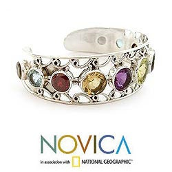 Sterling Silver 'Radiance' Multi-gemstone Cuff Bracelet (India) - Thumbnail 2