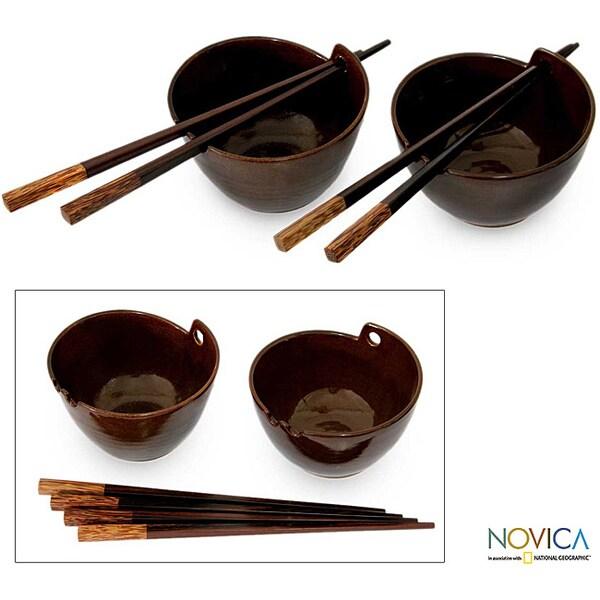 Set of 2 Handcrafted Ceramic 'Mangkok Dinner' Bowls (Indonesia)