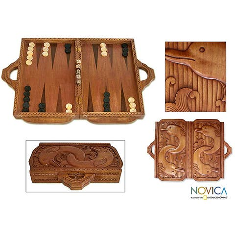 Handmade Cempaka and Sono Wood 'Dolphin Guard' Backgammon Set (Indonesia)
