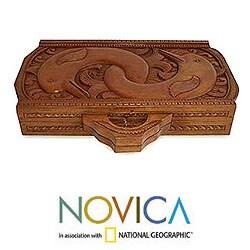 Cempaka and Sono Wood 'Dolphin Guard' Backgammon Set (Indonesia) - Thumbnail 1