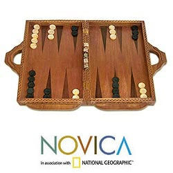 Cempaka and Sono Wood 'Dolphin Guard' Backgammon Set (Indonesia) - Thumbnail 0