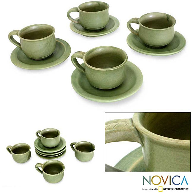 Handmade Set for 4 Ceramic 'Bali Forest' Cups and Saucers (Indonesia)