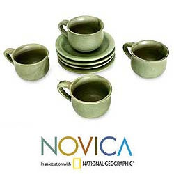 Handmade Set for 4 Ceramic 'Bali Forest' Cups and Saucers (Indonesia) - Thumbnail 1