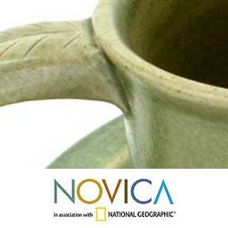 Handmade Set for 4 Ceramic 'Bali Forest' Cups and Saucers (Indonesia) - Thumbnail 2