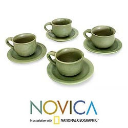 Set for 4 Ceramic 'Bali Forest' Cups and Saucers (Indonesia)