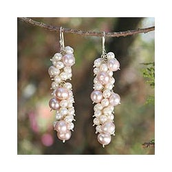Handmade Sterling Silver 'Pink Cluster' Pearl Earrings (3-8.5 mm) (Thailand)