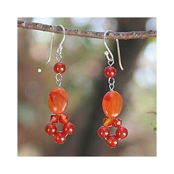 Sterling Silver 'Radiance' Carnelian Dangle Earrings (Thailand)