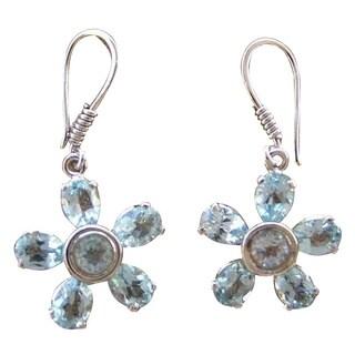 Handmade Sterling Silver 'Blue Starlight' Topaz Earrings (India)