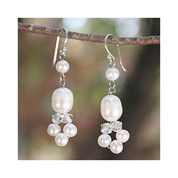Sterling Silver 'Purity' Pearl Dangle Earrings (3.5-8 mm)(Thailand)
