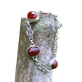 Handmade Sterling Silver 'Sunset in Bali' Carnelian Bracelet (Indonesia)