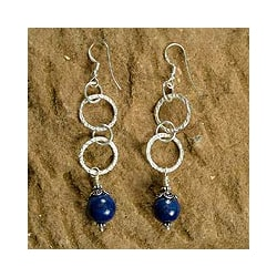 Handmade Sterling Silver 'Love Foretold' Lapis Lazuli Earrings (India)