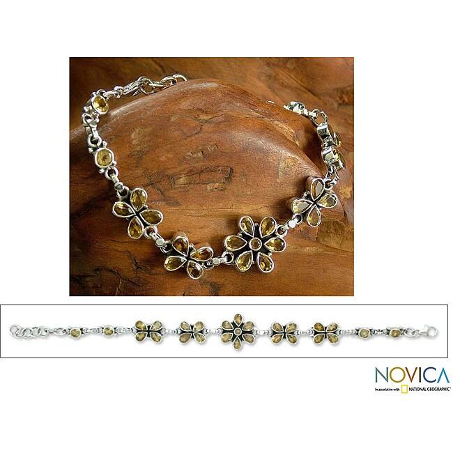 Handmade Sterling Silver 'Butterfly Blossom' Citrine Link Bracelet (India)