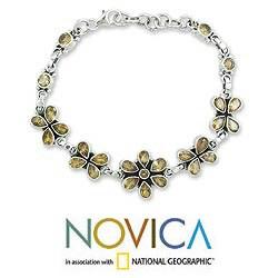 Handmade Sterling Silver 'Butterfly Blossom' Citrine Link Bracelet (India) - Thumbnail 1