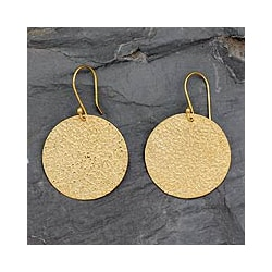 Handmade Gold Vermeil 'Summer Sun' Dangle Earrings (India)