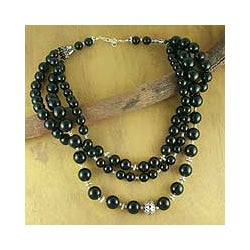Handmade Sterling Silver 'Midnight River' Onyx Strand Necklace (India)