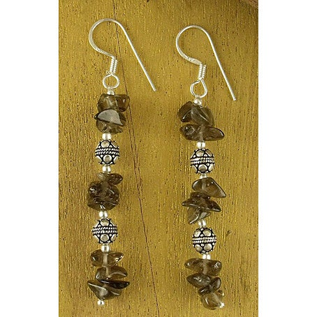 Handmade Sterling Silver X27 Garland Smoky Quartz Drop Earrings