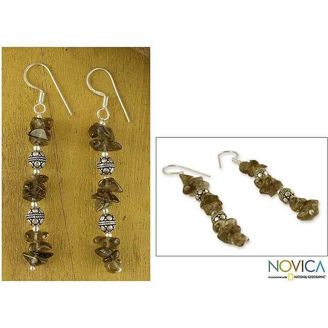 Handmade Sterling Silver 'Garland' Smoky Quartz Drop Earrings (India)