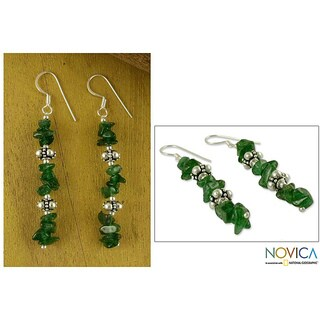 Handmade Sterling Silver 'Ivy Garland' Aventurine Drop Earrings (India)