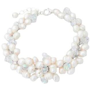 Handmade Pearl 'Glamour' Cluster Bracelet (6 mm) (Thailand)