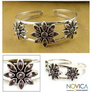 Handmade Sterling Silver 'Three Blossoms' Amethyst Cuff Bracelet (India)