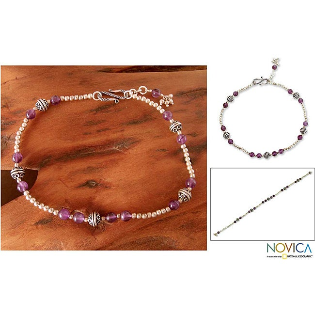 Sterling SIlver 'Mystical Muse' Amethyst Anklet (India)