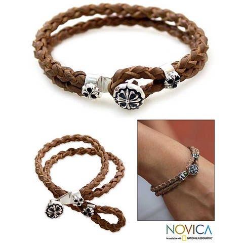 Handmade Sterling Silver 'Brown Lotus' Leather Bracelet (Indonesia)