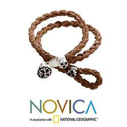 Handcrafted Sterling Silver 'Brown Lotus' Leather Bracelet (Indonesia) - Thumbnail 1