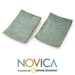 Set of 2 Handcrafted Ceramic 'Betel Leaf' Plates (Indonesia)