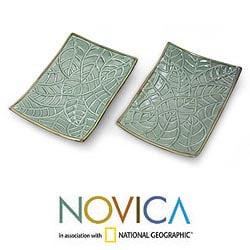 Set of 2 Handmade Ceramic 'Betel Leaf' Plates (Indonesia)