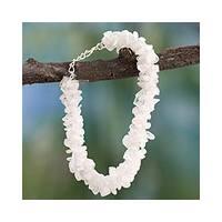 Handmade Sterling Silver 'Rainbow Gaze' Moonstone Beaded Bracelet (India)