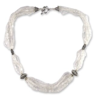 Handmade Sterling Silver Crystal Morning Moonstone Beaded Necklace India