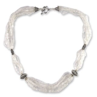 Handmade Sterling Silver 'Crystal Morning' Moonstone Beaded Necklace (India)
