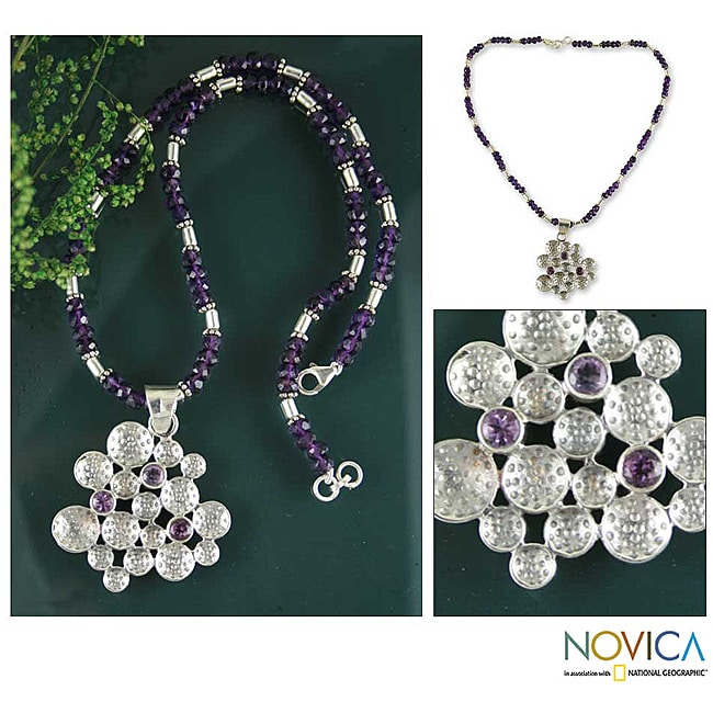 Handmade Sterling Silver 'Lilac Joy' Amethyst Necklace (India)
