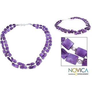 Handmade Sterling Silver Paradise Amethyst Strand Necklace India