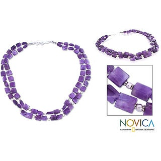 Handmade Sterling Silver 'Paradise' Amethyst Strand Necklace (India)