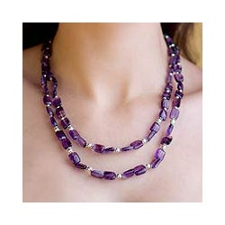 Sterling Silver 'Paradise' Amethyst Strand Necklace (India)