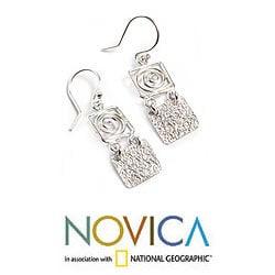 Handcrafted Sterling Silver 'Energy' Drop Earrings (Peru)