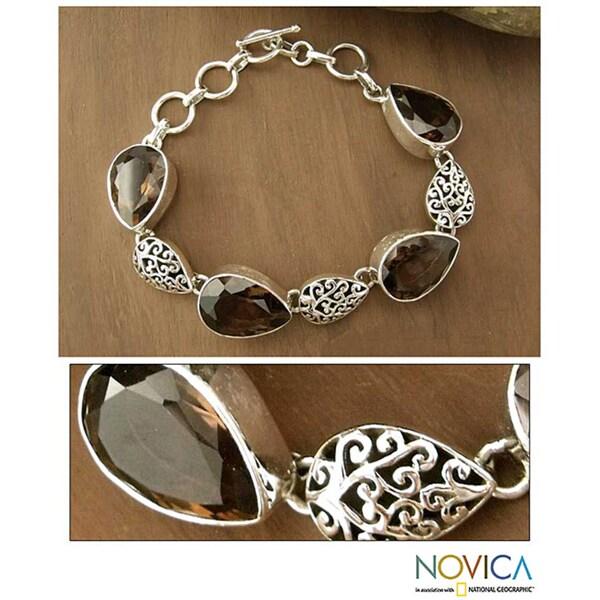 Handmade Sterling Silver 'Tears of Joy' Smoky Quartz Bracelet (India)