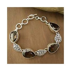 Handmade Sterling Silver 'Tears of Joy' Smoky Quartz Bracelet (India)