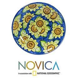 Handcrafted Ceramic 'Sunflowers' Serving Plate (El Salvador)