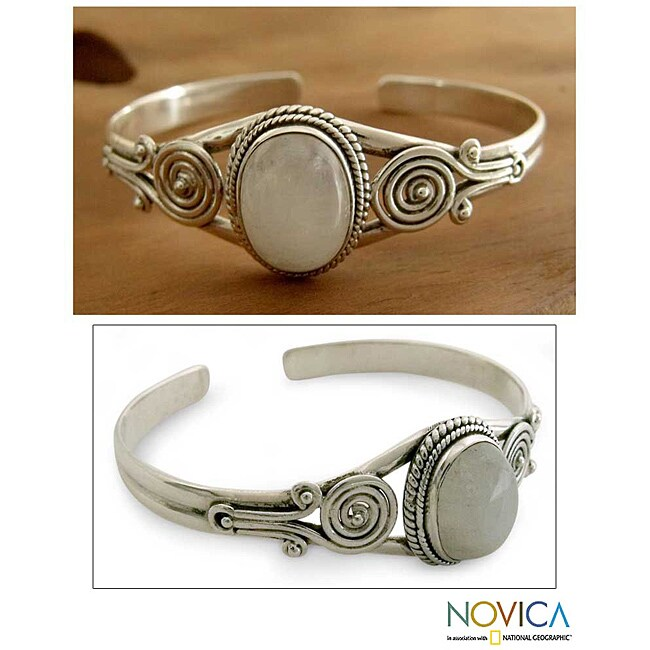 Sterling Silver 'Morning Magic' Moonstone Cuff Bracelet (India)
