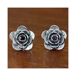 Handcrafted Sterling Silver 'Camellia' Garnet Earrings (Indonesia)