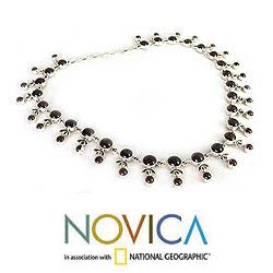Handmade Sterling Silver 'Gratitude' Garnet Necklace (India) - Thumbnail 2