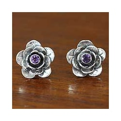 Handcrafted Sterling Silver 'Camellia' Amethyst Earrings (Indonesia)