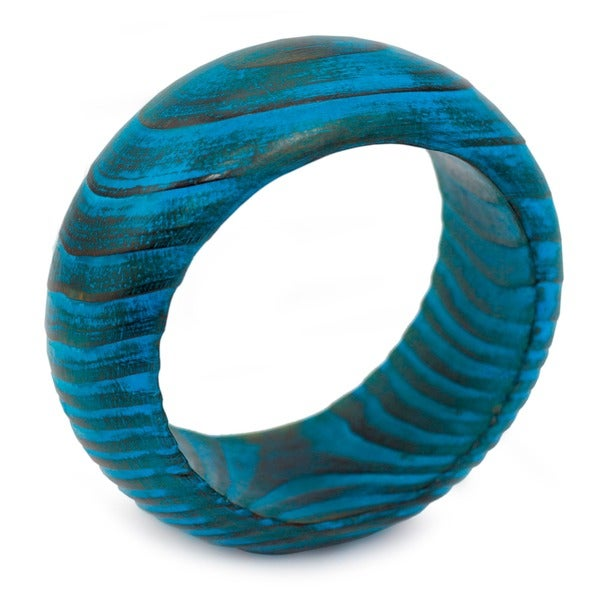Handmade Mango Wood 'Ocean Empress' Bangle Bracelet (India)