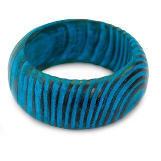 Mango Wood 'Ocean Empress' Bangle Bracelet (India)