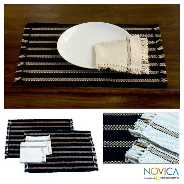 Set of 2 Cotton 'Night Wind' Placemats and Napkins (El Salvador)