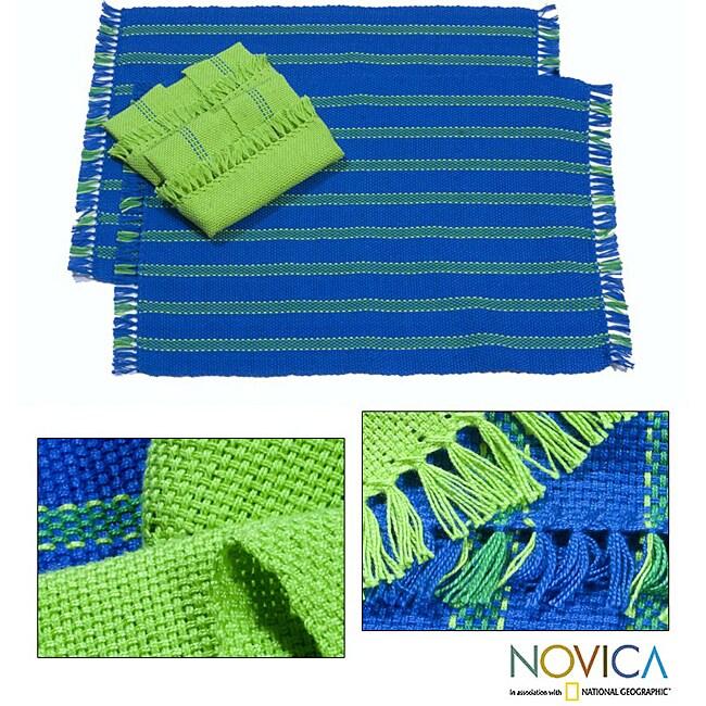 Handmade Set of 2 Cotton 'Salvador Sky' Placemats and Napkins (El Salvador)