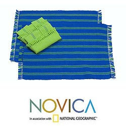 Handmade Set of 2 Cotton 'Salvador Sky' Placemats and Napkins (El Salvador)